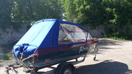 самодельный тент на лодку крым